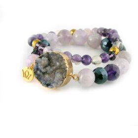 енергийна лилава Гривна Purple Temptation за защита с естествени перли с ахат с аметист и с хематит ръчна изработка
