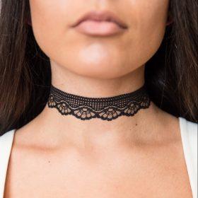 стилен черен Чокър Countess с дантела ръчна изработка