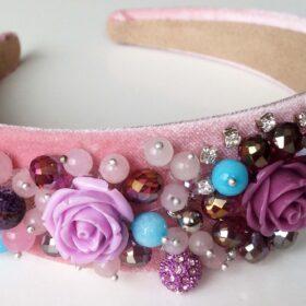 елегантна розова Диадема с кристали Rose с розов кварц и с ахат за любов и за защита ръчна изработка