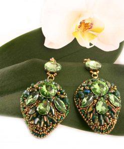зелени дълги Обеци Evergreen Style с кристали