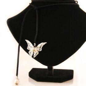 черен Велурен Чокър Silver Butterfly с перли