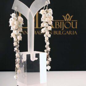 бели дълги елегантни сребърни Обеци White Waterfall с кристали и с ахат за щастие и за защита ръчна изработка