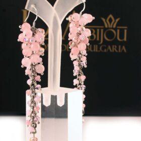 сребърни розови дълги Обеци Rose Waterfall с розов кварц и с кристали за любов ръчна изработка