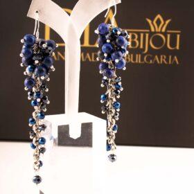 сини дълги сребърни Обеци Blue Waterfall с лапис лазули и с кристали ръчна изработка
