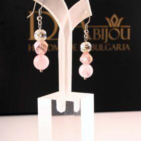 малки нежни розови обеци ръчна изработка Обеци Love с розов кварц за любов