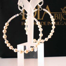 халки Обеци Eleanor с естествени перли и с кристали Swarovski ръчна изработка
