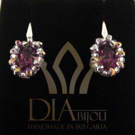 елегантни Обеци Tiffany с кристали Swarovski и с мъниста ръчна изработка