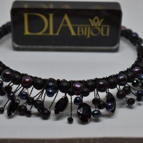елегантна черна Диадема с перли Black Pearl