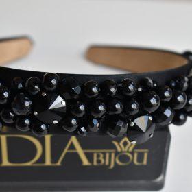 Диадема с черни кристали Dark Swan