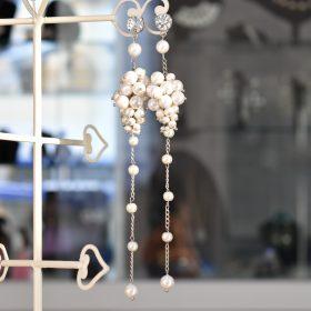 Обеци с естествени перли и кристали